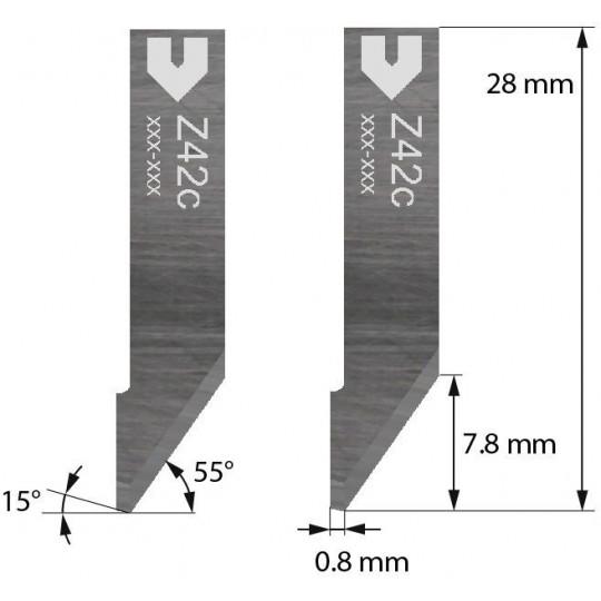 Blade Zund compatible - 5203005 - Z42C - Cutting depth until to 7.8 mm