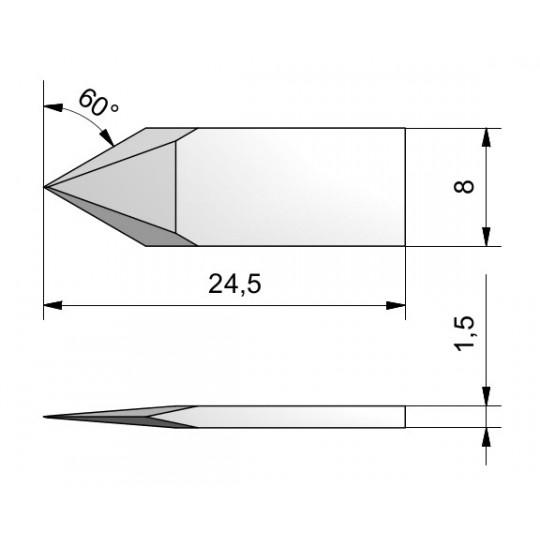 Blade Double Edge Cutout 60° 500-9803 - CE113 - Max. cutting depth 5 mm
