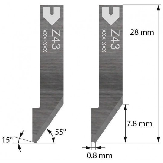 Blade Iecho compatible - Z43 - Max. cutting depth 7.8 mm