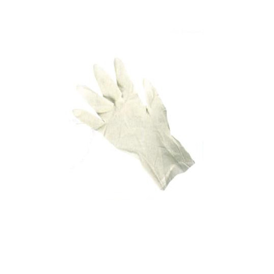 Single-use gloves on natural latex