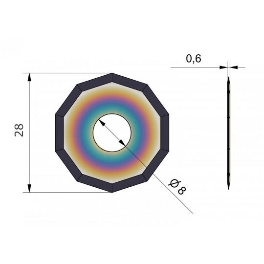 Blade CE 51-B - Covered long life - Ø 28 mm - Ø inside hole 8 mm