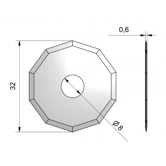 Blade CE52 - Ø 32 mm - Ø inside hole 8 mm