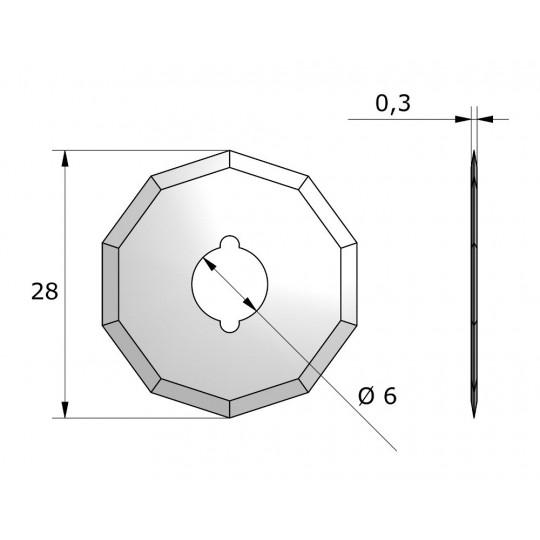 Blade CE125732 - Ø 28 mm - Ø inside hole 6 mm