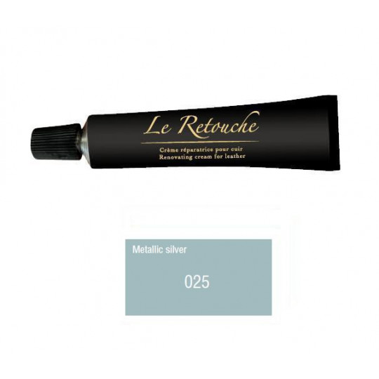 Retoucing cream for smooth leather - Package 25 ml - Color metalizzed silver