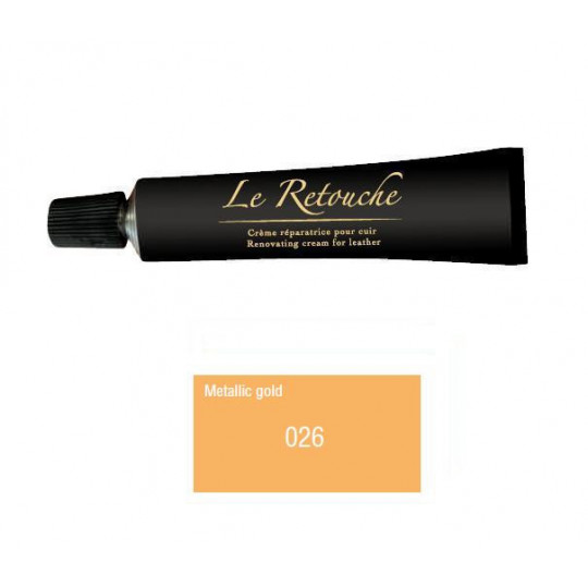 Retoucing cream for smooth leather - Package 25 ml - Color metalizzed gold