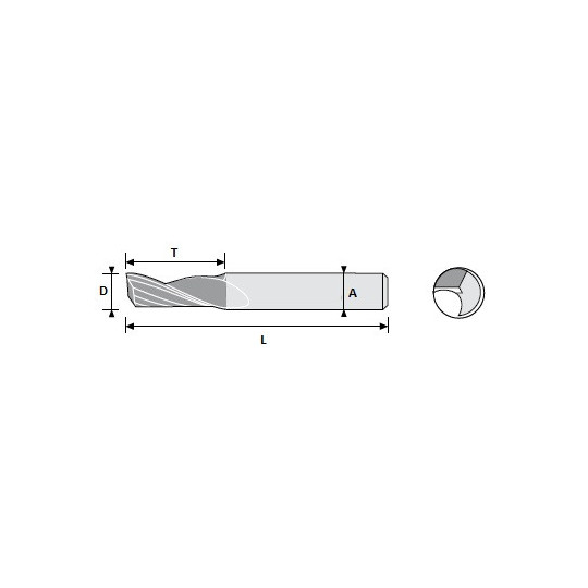 End mill 01033909 Atom compatible - D 2.5 A 7 L 22 T 8 - Positive 1 sharp - On Widia