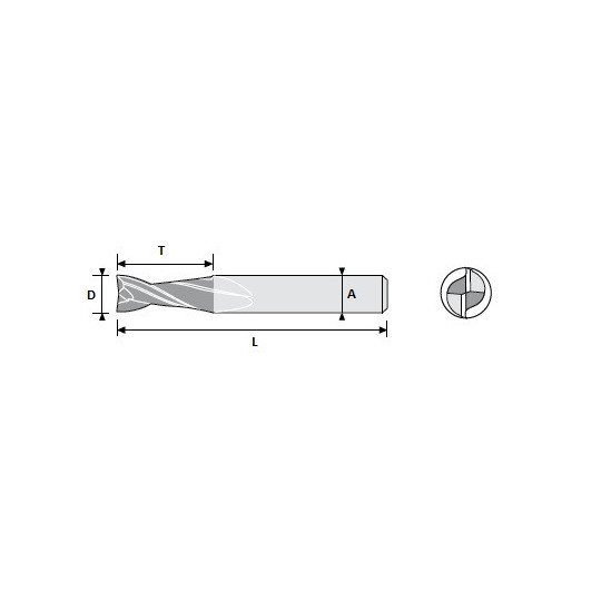 End mill 01033912 Atom compatible - D 2.5 A 7 L 22 T 8 - Positive 2 sharps - On Widia