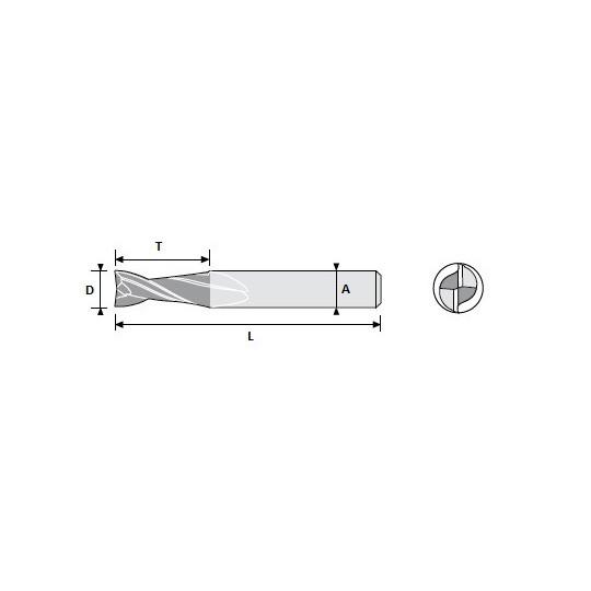 End mill 01039423 Atom compatible - D 2.5 A 7 L 22 T 8 - Positive 2 sharps - On Widia