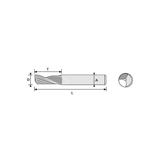 End mill 01039426 Atom compatible - D 3.5 A 7 L 22 T 8 - Positive 1 sharps - On Widia