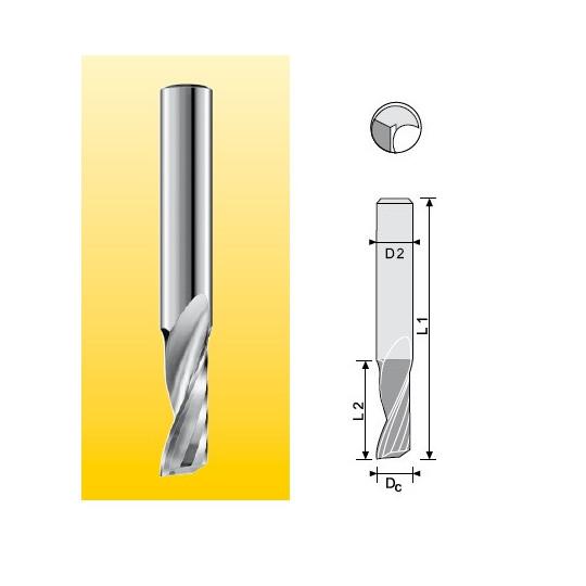 End mill MM solution compatible for plastic Dc 2 L2 10 L1 60 D2 6 Z1