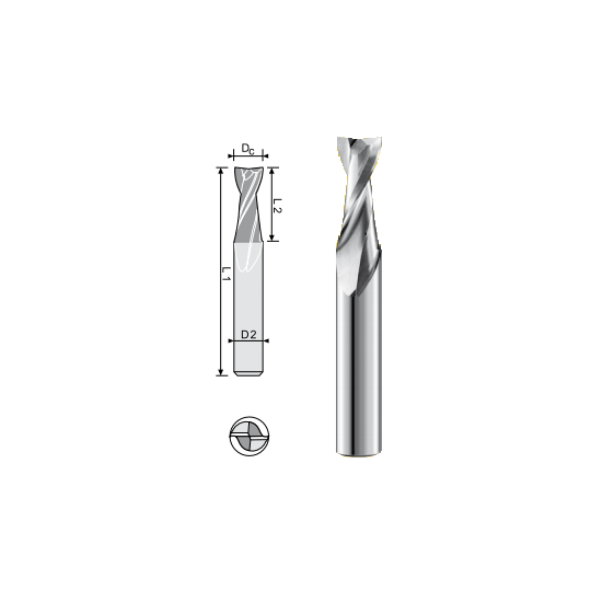 End mill MM solution compatible for MDF Dc 8 L2 30 L1 75 D2 8 Z2