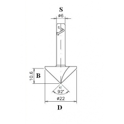 Countersink for rounding on plastic material Forex wood D 22 B 10.6 S 6 α 92°