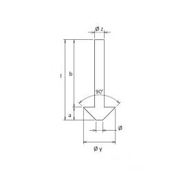 Countersink Øz 6 l 50 b 44 a 6 Øx 4 Øy 16